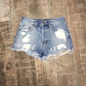 LF CARMAR distressed denim shorts; size 25